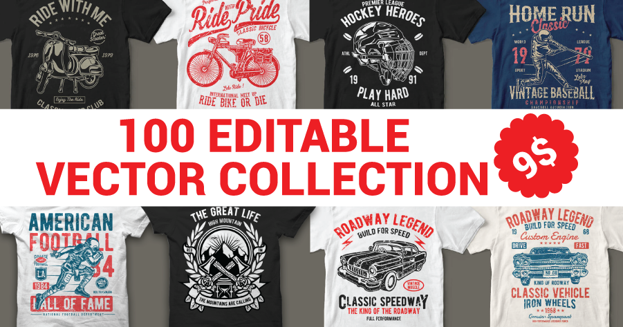 100 Editable Vector Collection for T-Shirt Design - Graphics Design