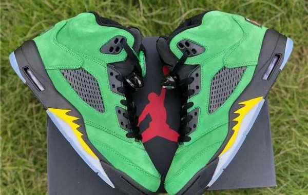 "Newest Air Jordan 5 Retro SE ""Oregon Ducks"" Apple Green Black For Cheap CK6631-307"